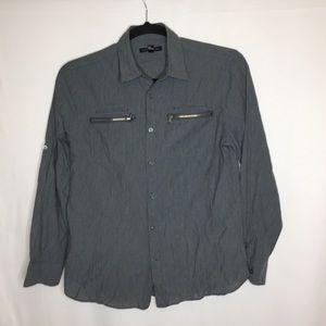John Varvatos medium gray zippered shirt